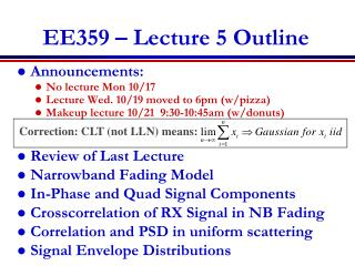 EE359 – Lecture 5 Outline