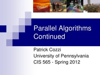 Parallel Algorithms Continued