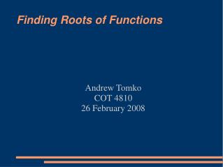 Finding Roots of Functions
