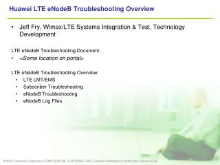 Huawei LTE eNodeB Troubleshooting Overview