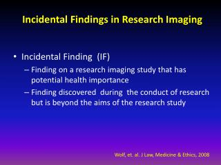 Incidental Findings in Research Imaging