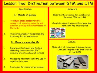 Lesson Two: Distinction between STM and LTM