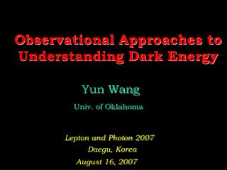 Observational Approaches to Understanding Dark Energy