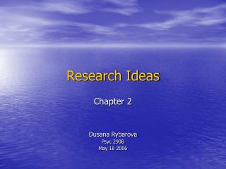 Research Ideas