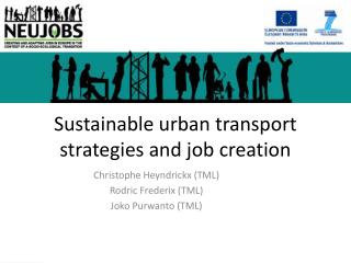 Sustainable urban transport strategies and job creation