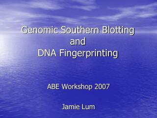 Genomic Southern Blotting and  DNA Fingerprinting