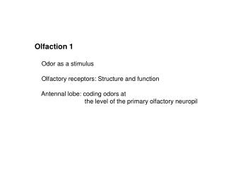 Olfaction 1     Odor as a stimulus     Olfactory receptors: Structure and function