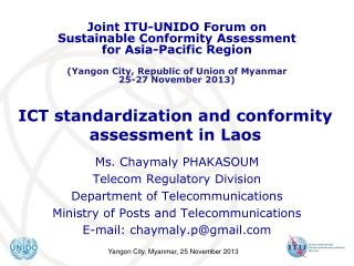 ICT standardization and conformity assessment in Laos