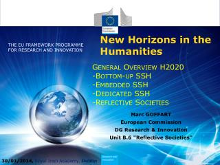 General  Overview  H2020 - Bottom -up SSH -Embedded SSH - Dedicated  SSH - Reflective Societies