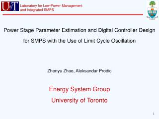 Energy System Group University of Toronto