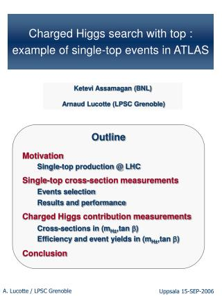 Charged Higgs search with top :   example of single-top events in ATLAS