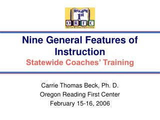 Nine General Features of Instruction Statewide Coaches' Training