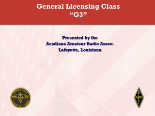 "General Licensing Class ""G3"""