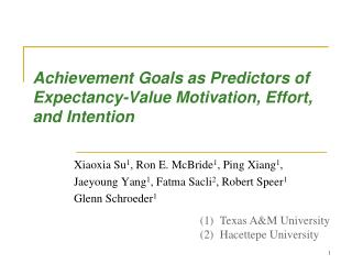 Achievement Goals as Predictors of Expectancy-Value  Motivation,  Effort, and Intention