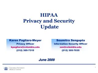 HIPAA Privacy and Security  Update