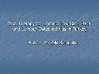 Spa Therapy for Chronic Low Back Pain  and Lumber Osteoarthritis in Turkey