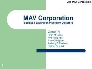 MAV Corporation Business Expansion Plan from Directors