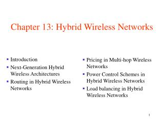Chapter 13: Hybrid Wireless Networks