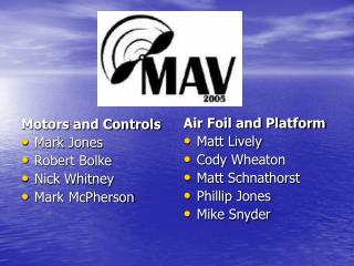 Motors and Controls Mark Jones Robert Bolke Nick Whitney Mark McPherson