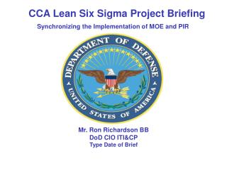 Mr. Ron Richardson BB DoD CIO ITI&CP Type Date of Brief