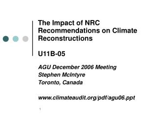The Impact of NRC Recommendations on Climate Reconstructions U11B-05