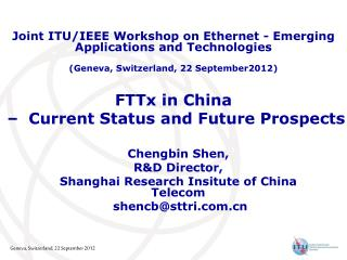 FTTx in China  –  Current Status and Future Prospects