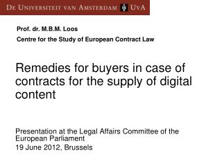 Presentation at the Legal Affairs Committee of the European Parliament 19 June 2012, Brussels