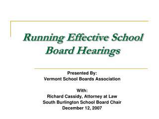 Running Effective School Board Hearings