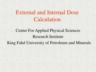 External and Internal Dose Calculation