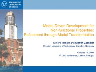 Model-Driven Development for  Non-functional Properties: Refinement through Model Transformation