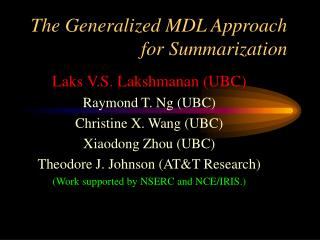 The Generalized MDL Approach for Summarization