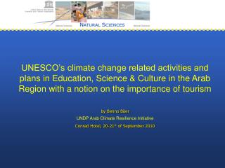 UNESCO's climate change related activities and plans in Education, Science & Culture in the Arab Region with a not