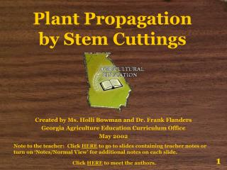 Plant Propagation by Stem Cuttings
