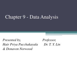 Chapter 9 - Data Analysis
