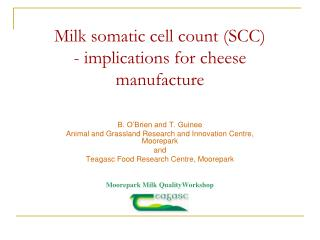 Milk somatic cell count (SCC)  - implications for cheese manufacture