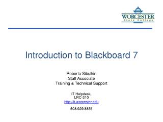 Introduction to Blackboard 7