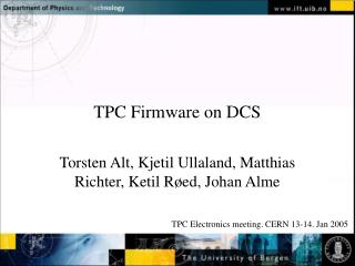 TPC Firmware on DCS