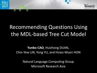 Recommending Questions Using the MDL-based Tree Cut Model