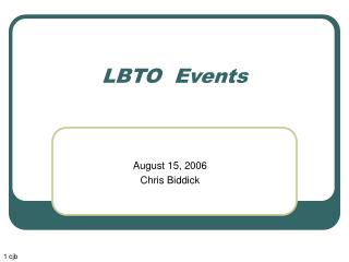 LBTO  Events