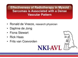 Effectiveness of Radiotherapy in  Myxoid  Sarcomas is Associated with a Dense Vascular Pattern