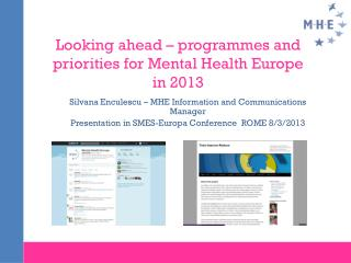 Looking ahead – programmes and priorities for Mental Health Europe in 2013