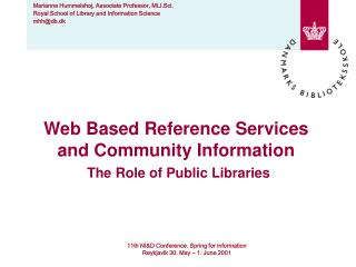 Web Based Reference Services and Community Information The Role of Public Libraries