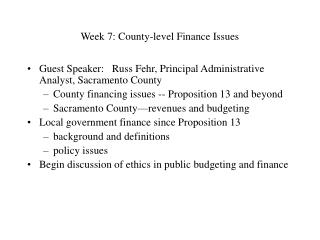 Week 7: County-level Finance Issues