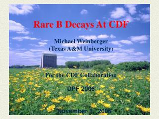 Rare B Decays At CDF Michael Weinberger (Texas A&M University ) For the CDF Collaboration DPF 2006