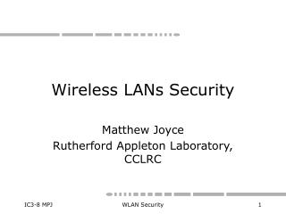 Wireless LANs Security