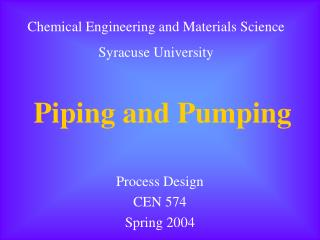 Piping and Pumping