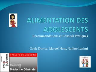 ALIMENTATION DES ADOLESCENTS