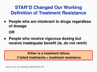 STAR*D Changed Our Working Definition of Treatment Resistance