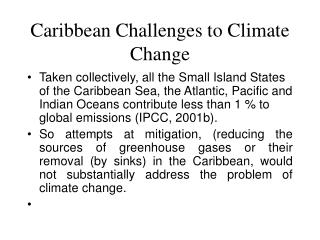 Caribbean Challenges to Climate Change