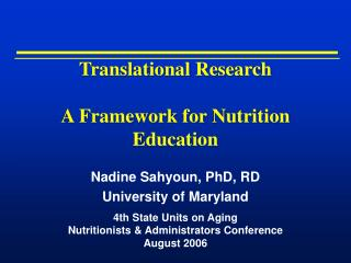 Translational Research A Framework for Nutrition Education